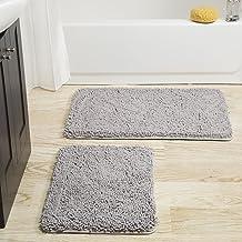 Lavish Home 2 Piece Memory Foam Shag Bath Mat - Blue Grey
