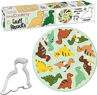 SCRAP COOKING Kit Easy Biscuits Dinosaures Set Pâtisserie avec Pâte à Sucre Imprimée/Découpoir Emporte-Pièce pour Créer 12...