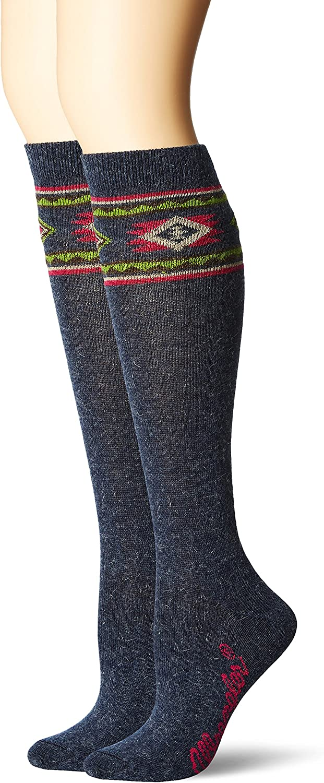 Wrangler Women's Ladies Angora Aztec Boot Socks 2 Pair Pack