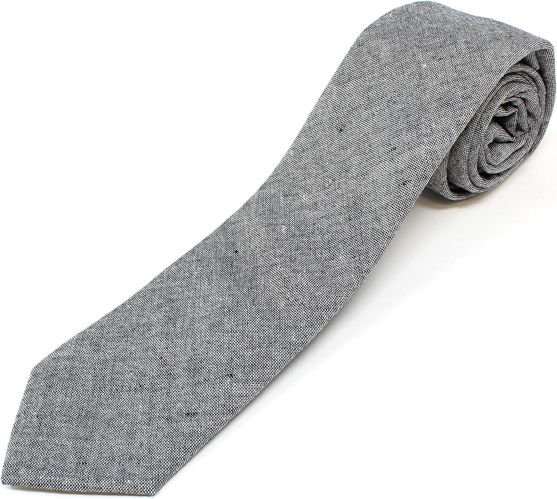 Men's Chambray Cotton Skinny Necktie Miami Mall Textured shipfree Sty Tie Distressed