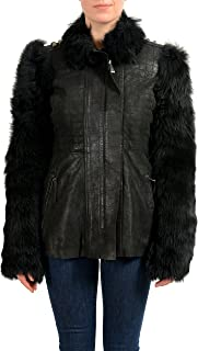 Just Cavalli 100% Leather Black Real Fur Women's Basic Jacket US S IT 40