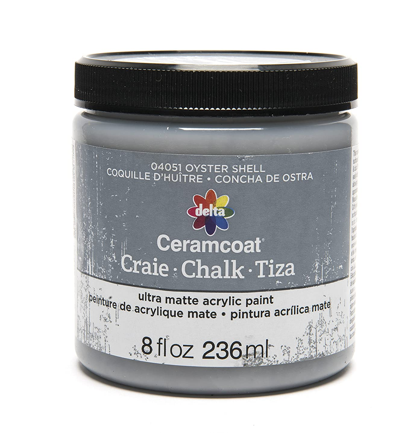 Delta Creative Ceramcoat Ultra Matte Chalk Furniture & Craft Paint in Assorted Colors (8 Ounce), 04051 Oyster Shell