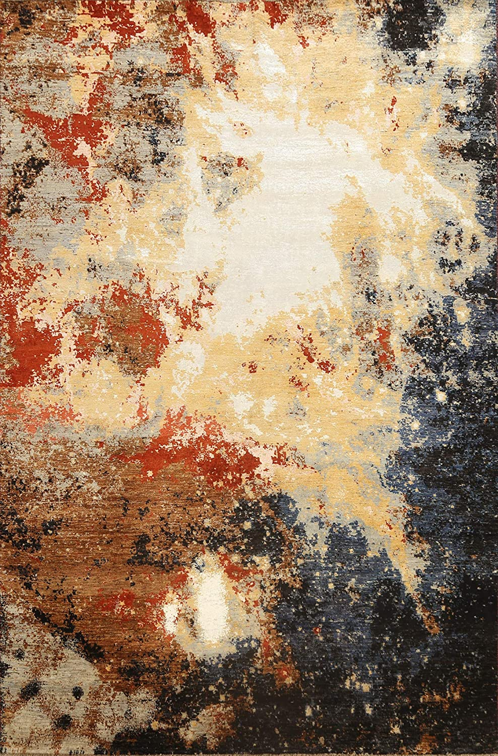 Vegetable Dye Contemporary Cash special price Abstract Wool Rug Oriental Silk Area safety