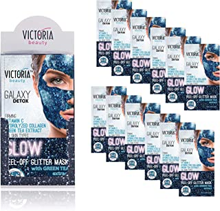 Victoria Beauty - Glitter Glow Gesichtsmaske mit Grüntee gegen Mitesser – optimale Gesichtspflege - 12 Stk.