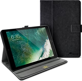 rooCASE iPad 9.7 2018/2017 Case, Premium Leather Folio Case with Apple Pencil Holder, Multi-Angle Viewing Stand, Smart Cover Auto Sleep/Wake Function for Apple iPad 9.7-inch 2017/2018, Black