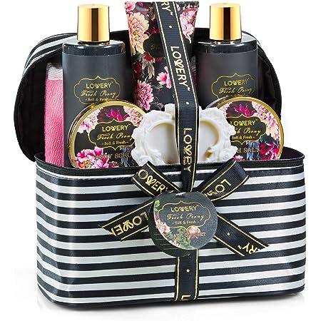 Mother's Day Home Spa Gift Basket, 8 Piece Bath & Body Set For Men/Women, Fresh Peony Scent - Contains Shower Gel, Bubble Bath, Lotion, Bath Salt, Body Scrub, Bath Soap, Back Scrubber & Cosmetic Bag