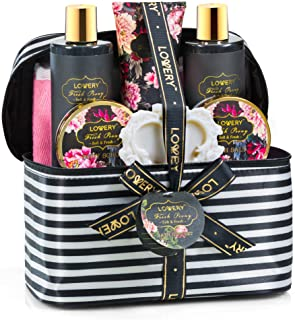 Home Spa Gift Basket, Luxurious 8 Piece Bath & Body Set For Men/Women, Fresh Peony Scent - Contains Shower Gel, Bubble Bath, Body Lotion, Bath Salt, Body Scrub, Bath Soap, Back Scrubber & Cosmetic Bag
