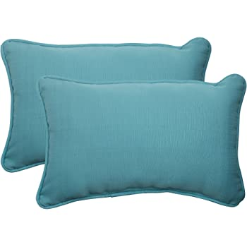 "Pillow Perfect Outdoor/Indoor Forsyth Pool Lumbar Pillows, 11.5"" x 18.5"", Turquoise, 2 Pack"