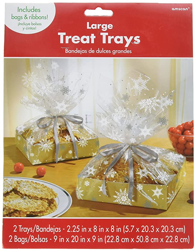 Kraft Large Treat Tray with Cello Bag Christmas Party Gift Favour Giveaway (2 Sets), Clear/White, 11.15
