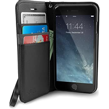 Smartish iPhone 7/8/SE (2020) Wallet Case - Keeper of The Things - Folio Wallet Synthetic Leather Portfolio Flip Credit Card Cover with Kickstand - Black Tie Affair