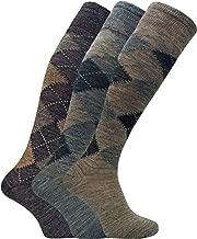 3 Pack Mens Warm Extra Long Knee High Argyle Lambs Wool Socks in Brown or Grey
