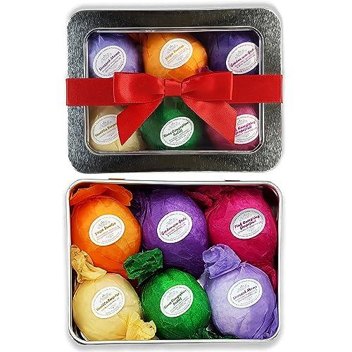 Bath Bomb Gift Set USA - 6 Vegan Essential Oil Natural Fun Fizzies Spa Kit. Organic Shea/Cocoa Soothe Dry Skin. Luxury Gift for Valentine, Women, Mom, Teen Girl, Birthdays. Add to Tub Tea or Baskets