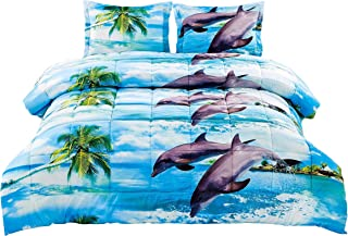 2 Piece Box Stitched 3d Dancing Dolphin Prints Comforter Set (D012) (Twin)