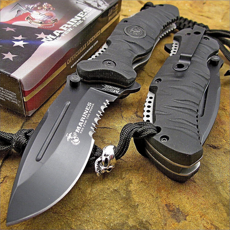 MARINES Open MILITARY TACTICAL Folding Pocket Blade Knife USMC