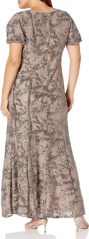 Alex Evenings Women's Long A-line Sequin Lace Dress Short Sleeves (Regular Petite)