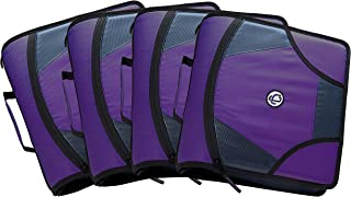 Case it King Sized Zip Tab 4-Inch D-Ring Zipper Binder with 5-Tab File Folder, Purple, Case of 4