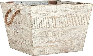 Stone & Beam Modern Farmhouse Wood and Galvanized Metal Decor Storage Bin Basket, 14 Inch, White Washed