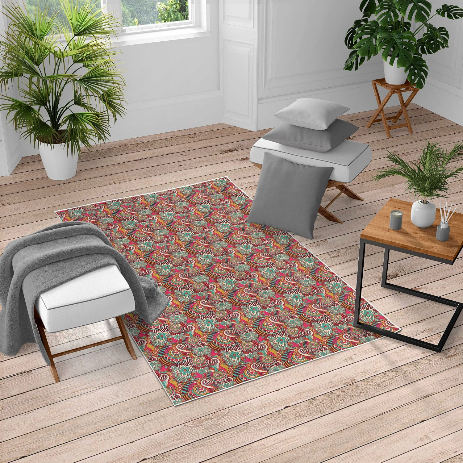 Ambesonne Colorful Turkish Area Rug Composition Hand Limited time trial price Super popular specialty store Drawn with