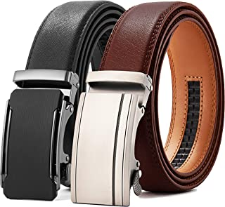 """Chaoren Leather Ratchet Belt 2 Pack Dress with Click Sliding Buckle 1 3/8"""" in Gift Set Box - Adjustable Trim to Fit"""