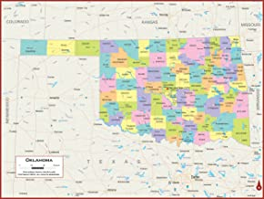 60 x 45 Giant Oklahoma State Wall Map Poster with Counties - Classroom Style Map with Durable Lamination - Safe for Use wi...