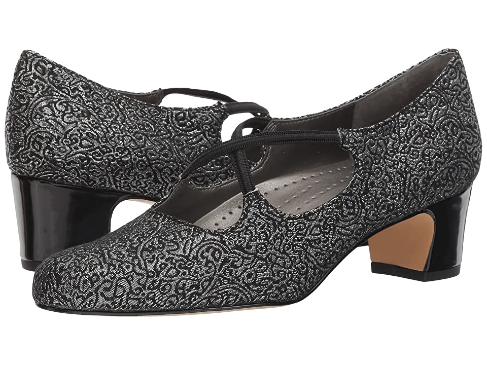 Swing Dance Shoes- Vintage, Lindy Hop, Tap, Ballroom Trotters Jamie BlackSilver Brocade Fabric Womens 1-2 inch heel Shoes $89.95 AT vintagedancer.com