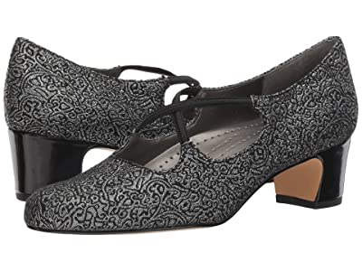 Trotters Jamie (Black/Silver Brocade Fabric) Women