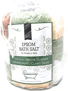 Pure Epsom Salts for Bath or Shower (5.5 Oz Each-12 packs) Sampler Pack Set –-Natural Hand, Foot and Body Scrub-Scented -Stress Relief Refreshes Tired Sore Muscles-Individual Packets with Tote (Warm)