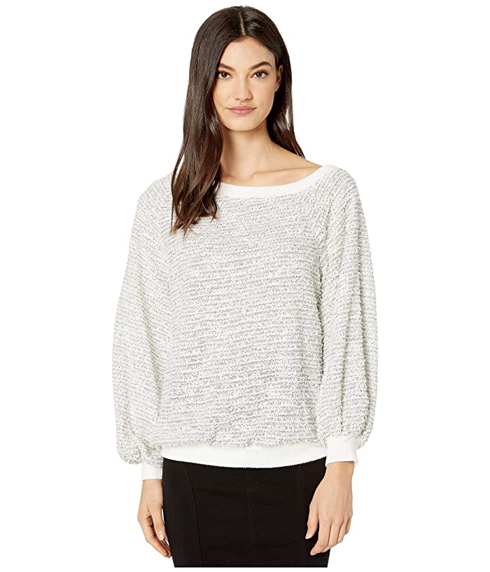 1.STATE  Off-the-Shoulder Eyelash Knit (Soft Ecru) Womens Sweater