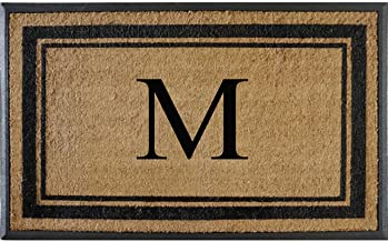 First Impressions Markham Border Double Door, Doormat, Monogrammed M, X-Large, 30