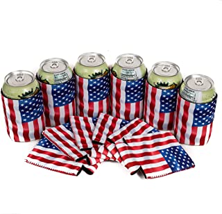 QualityPerfection - Set Of 12 - USA Flag Wind Neoprene Can Cooler Sleeve Collapsible Coolie Economy Bulk Insulation with Stitches Perfect 4 Events,Custom DIY Projects Variety of Colors