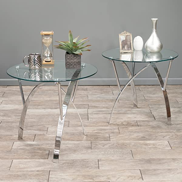 Christopher Knight Home 295401 Marin Round Glass End Table Set Of 2 Clear