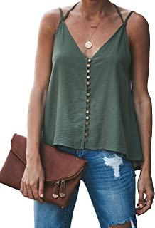 GAMISOTE Women's Sexy V Neck Camis Tops Halter Buttons Spaghetti Strap Backless Swing Tank Shirts