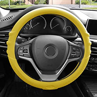 FH Group FH3003YELLOW Yellow Steering Wheel Cover (Silicone W. Grip & Pattern Massaging grip Yellow Color-Fit Most Car Truck Suv or Van)