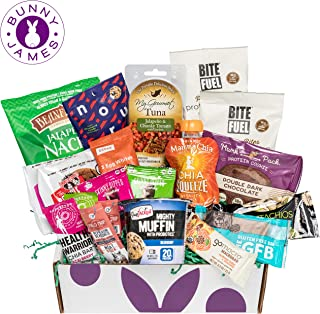 High Protein Fitness Snacks Box: Premium Mix of Healthy Gourmet Protein Snacks On The Go Meal Replacements, Perfect for Athletes College or Military Care Package
