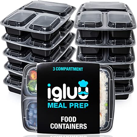 Igluu Meal Prep - [Lot de 10] Boîtes alimentaires à 3 compartiments pour préparation des repas - Réutilisables, sans BPA - Compatibles Micro-ondes, lave-vaisselle et congélateur