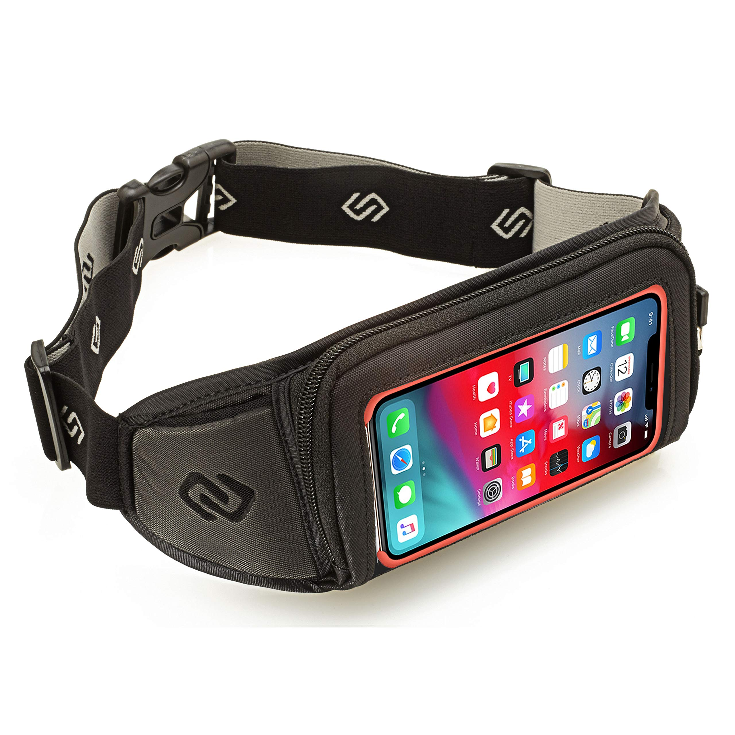 Sporteer Kinetic K1 Running Belt Waist Pack - Compatible with iPhone 13 Pro Max, 13 Pro, 13, 12/11 Pro Max, Xs Max, XR, X, 8 Plus, Galaxy S20 Plus, 10 Plus, Note 10+, 9, S9+, Pixel 4 XL, LG, Moto - Fits Cases