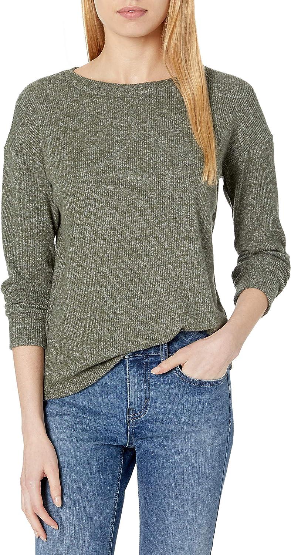 Amazon Brand - Daily Ritual Women's Cozy Knit Rib Long Sleeves Drop-Shoulder Open Crewneck Sweatshirt
