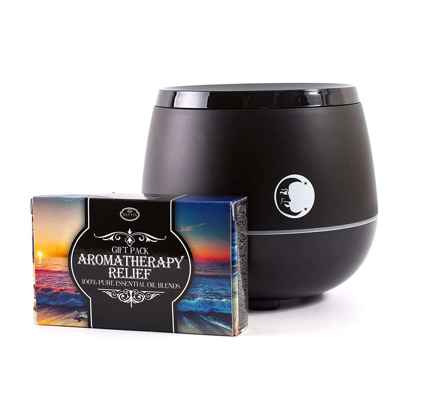 フォアマンクレア豆Mystic Moments | Black Aromatherapy Oil Ultrasonic Diffuser With Bluetooth Speaker & LED Lights + Aromatherapy Relief Essential Oil Blend Gift Pack