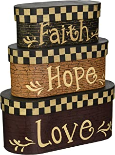 Your Heart's Delight Faith Hope Love Nesting Boxes, 7-1/2 by 3-1/2-Inch