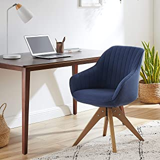 Art Leon Mid Century Modern Swivel Accent Chair with Arms, Beech Wood Legs Upholstered Computer Desk Chair for Small Space...