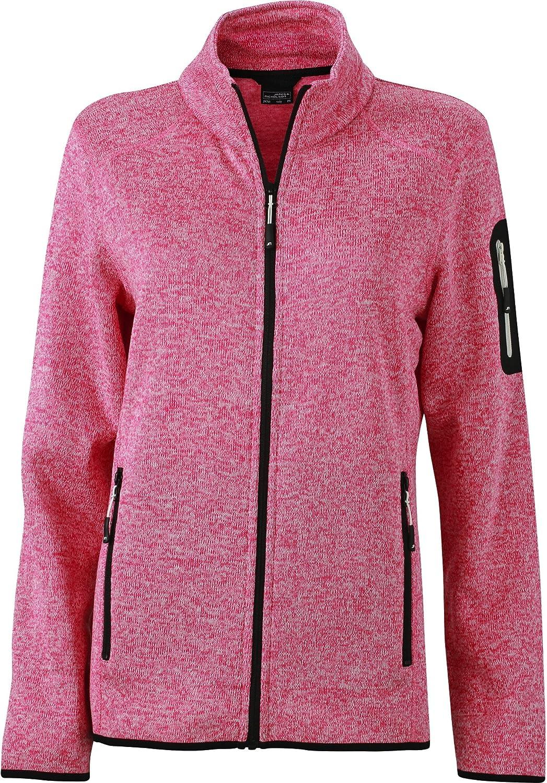 James+Nicholson Damen Sweatjacke Strickfleece Jacke Mehrfarbig Royal Melange//Red S