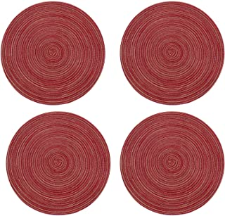 Topotdor Round Placemats Heat-Resistant Stain Resistant Anti-Skid Washable Polyproplene Table Mats Placemats (Red, Set of 4)