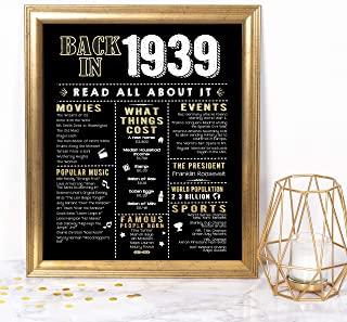 Katie Doodle 80th Birthday Decorations Party Supplies Gifts for Women or Men - Includes 8x10 Back-in-1939 Sign [Unframed], BD080