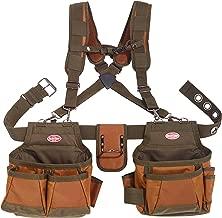 Bucket Boss Airlift 2 Bag Tool Belt with Suspenders in Brown, 50100
