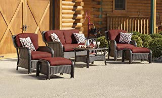 Hanover STRATHMERE6PCRED Strathmere Lounge Crimson Red 6-Piece Steel-Frame Wicker Outdoor Patio Seating Set