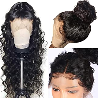 Glueless Lace Front Human Hair Wigs for Black Women Natural Hair Wigs Bleached Knots 7A Grade Black Hair Wigs with Baby Hair (14 inch with 130 density)
