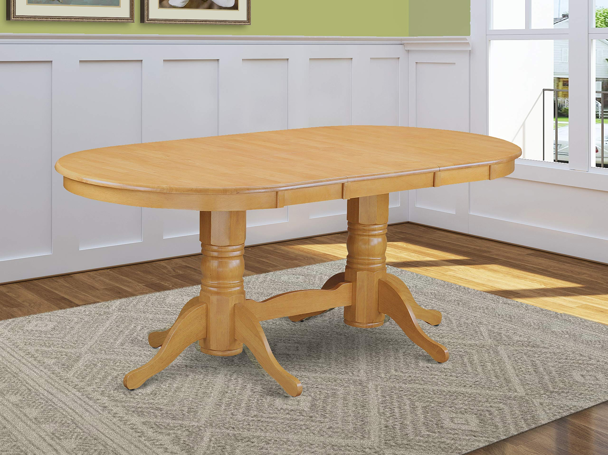 East West Furniture Butterfly Leaf Oval Wood Dining Table   Oak Table Top  and Oak Finish Double Pedestal Legs Solid Wood Frame Dinner Table