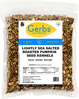 GERBS Lightly Sea Salted Pumpkin Seed Kernels, 32 ounce Bag, Roasted, Top 14 Food Allergen Free, Non GMO, Vegan, Keto, Pal...