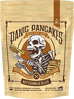 Panic Pancakes Buttermilk Blaze Complete Pancake & Waffle Mix by Sinister Labs - Classic buttermilk with whole grain oat flour and 20g protein per serving - No Added Sugar - 11.5 oz bags (1-Pack)