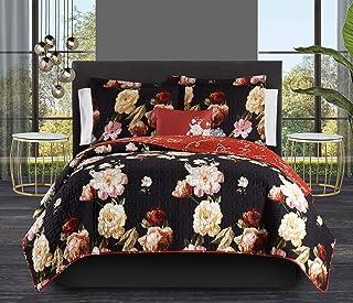 Chic Home Euphemia 3 Piece Reversible Quilt Set Floral Print Cursive Script Design Bedding - Decorative Pillow Sham Includ...